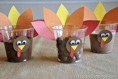 thanksgiving snack ideas for kids pinterest | Preschool Crafts for Kids*: Thanksgiving Turkey Snack Cups Craft