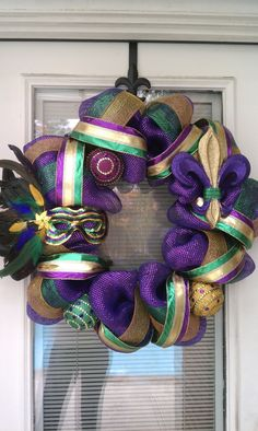 Mardi Gras Wreath @Patty Markison Preslar