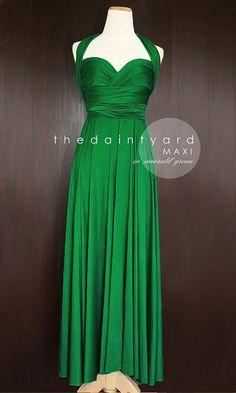 MAXI Emerald Green Bridesmaid Convertible Infinity Multiway Wrap Dress Green Wedding Prom Dress Pastel Long Full Length on Etsy, $48.00