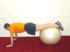 Jackknife with Ball Exercise: A great tummy toner! Works your arms, shoulders, abs and balance all at once! | via @SparkPeople #fitness #workout