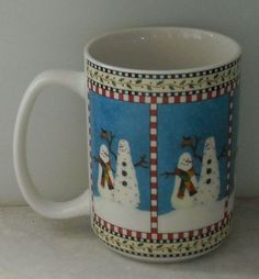 SNOWMAN MUG Sakura Debbie Mumm Tall Mug Christmas Holiday