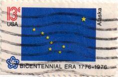 US postage stamp, 13 cents.  Alaska.  Issued 1976.  Scott catalog 1681.