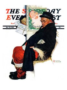 """""""See Him at Drysdales"""" (Santa on Train) By Norman Rockwell. Issue: December 28, 1940. ©SEPS. Giclee print available at Art.com."""