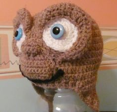 E.T., Extra Terrestrial Earflap Crocheted Hat-this is AWESOME!
