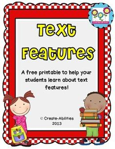 Text Features Freebie! CCSS!! FREE