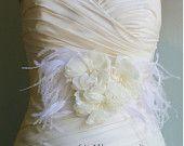 Wedding Sash Bridal Belt  Megan -Ivory and Ivory Lace with Birdcage Veil Bridal Sash.