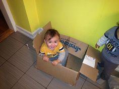 Larissa's son in an FD box! freshdirect box, fd box, larissa son