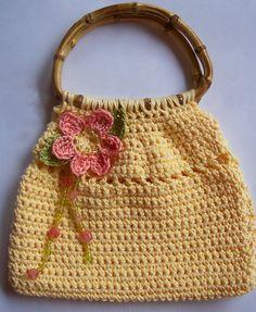 Crochet Handbag with Flower, Leaves and Bead Detail