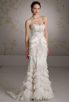 Pretty art deco style wedding dress wedding dressses, lazaro, bell, bridal dresses, bridal gown, whimsic bridal, the dress, the bride, inspir