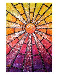 Starlit Hour : Modern Japanese Sunburst, Neon Sun Sky - 11x14 Metallic Print on Etsy, $45.00