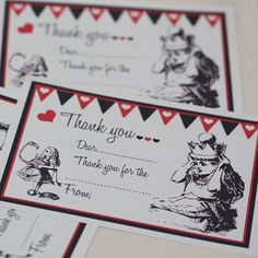 Mad Hatter Tea Party Ideas Alice in Wonderland Thank You Notes - free printable! --Would be awesome for after party!
