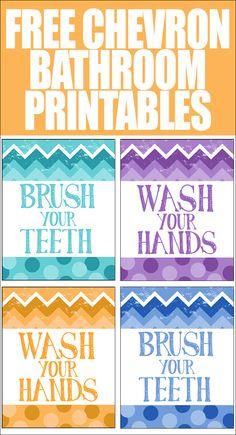 FREE chevron bathroom printables