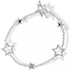 Bling Jewelry Sterling Silver Stars Cutout and Solid Star Toggle Bracelet 7.5 Inch Bling Jewelry. $29.99. Star motif. Cable and solid links. Toggle closure. Alternating star charms cutout and solid. .925 sterling silver. Save 52%!