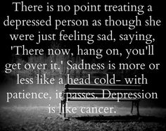 """I have struggled with depression myself and when people say, """"Just get over it."""" They do not know what they are saying, as well as when someone tells me that I am over reacting to something and they always tell me how I let the littlest things get to me, IT IS NOT EASY! If you have not walked in the shoes of depression DO NOT JUDGE US."""