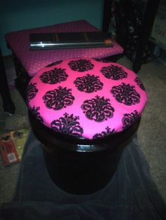 New seats for our kids at school. Made out of 5 gallon buckets from Lowes and spay painted and covered the lid with fabric!