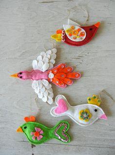 Vintage Christmas Ornaments Handmade Birds Felt by PeppermintBark