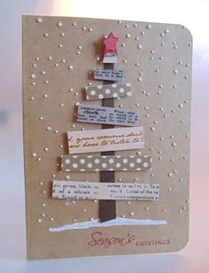 "Brown Kraft Paper ""Season's Greetings"" Tree Card...using washi tape for the tree branches. You could substitute and use  paper scraps, also.  By Bea - Keep it simple."