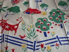 Vintage 40`s Simtex Tablecloth Farm Cows Chickens Barn Mice etc.
