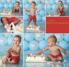 Smash the cake - balloon background.
