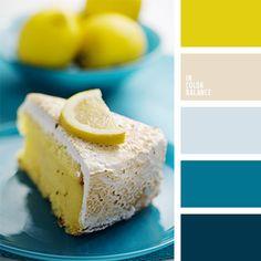 yellow pallet, lemon cakes, color palettes, room colors, kitchen colors, blue, color pallets for weddings, color inspir