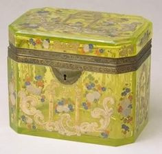 Glass, enamel and gilded metal tea caddy, 1830-1850. http://www.liverpoolmuseums.org.uk/walker/collections/craftdesign/process/skindeep/teacaddy.aspx