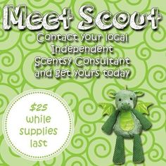 SCOUT the DRAGON Scentsy Buddy ~ Will sell out in weeks! GET YOURS NOW!!! Comes with a Scent Pak of your choice ORDER ONLINE ~ SHIPS DIRECT https://spollreisz.scentsy.us