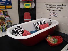 A teacher in my hometown had a tub in her classroom it was awesome!!
