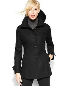 Kenneth Cole Reaction Single-Breasted Hooded Wool-Blend Coat - Coats - Women - Macy's $225.
