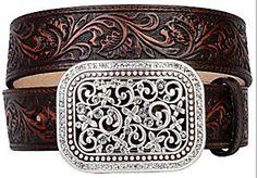 Ariat® Brown Rhinestone Fillagree Ladies Belt 10006957