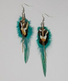 Look at this #zulilyfind! Gold & Turquoise Dottie Feather Earrings by LOLO by New Dimensions #zulilyfinds