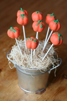 Pretty Pumpkin Cake Pops by Sweet Lauren Cakes, via Flickr