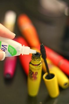 A typical mascara dries out before half of it is used. When your favorite mascara starts getting dry, add 4-5 drops of saline solution or eyedrops to the bottle. Insert your wand and stir and TA-DA!! Fresh mascara! This can be repeated 2 or 3 times until all you mascara is gone. - omg! My life is now so much better