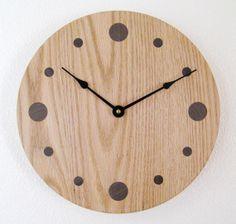 Oak Wall Clock by DebsWoodshop on Etsy, $135.00
