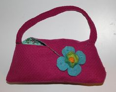 Pink Tweed Small purse with large teal felt flower by kustomkate, $54.00