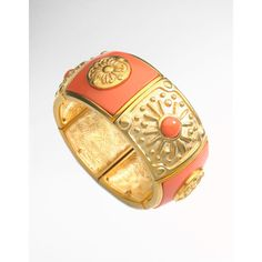 Tahari Faux Coral Inlay Bangle found on Polyvore... can be purchased at Lord and Taylor  ... beautiful :)