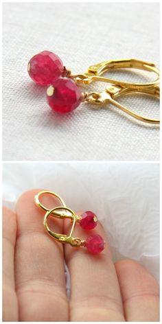 Simple Minimalist Genuine Ruby Earrings. Gold Filled Wire. Gold Leverback Earrings. Gemstone Earrings. Round Cut AAA Grade #SALE