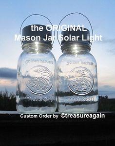 Golden Harvest Mason Jar Solar Light Lanterns by treasureagain   http://etsy.me/1ruRsjL