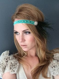 Sparkling Wooden Nymph  1920 Peacock Tiffany Blue Green Headband by Miss S-a Headbands