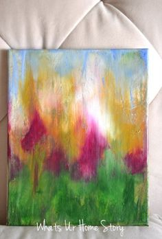 DIY Abstract Painting that even an 8 yr old can make! Step by step tutorial at www.whatsurhomestory.com
