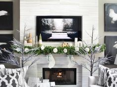 A mantel is a natural focal point for #holiday design.  I had sooo much fun with the #HolidayHouse mantel that I decorated it three times - in three different styles. Which is your favorite??…Leave a comment or repin.  This first look is understated and elegant.  Love.