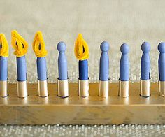 """How cute!! A clothespin menorah so even the little ones can """"light"""" the menorah!"""