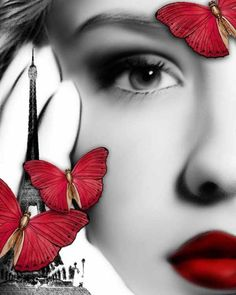 victoria secrets, red fashion, butterflies, pari, red lips