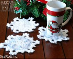 Pretty Snowflake Coaster #crochet