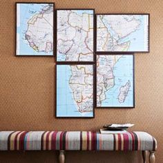 decor, wall art, maps, map frame, old houses