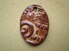 Ceramic Focal Bead with Spiral Pattern Cream by spinningstarstudio, $3.00