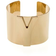 Yves Saint Laurent Y gold-tone cuff ($465) ❤ liked on Polyvore goldton cuff, cuff 465