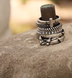 THE CASSIDY STACKABLE RINGS - rhinestone band . Junk GYpSy co.