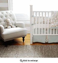 khaki and aqua crib bedding - perfect for boy or girl!