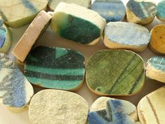 ceramic mosaic tile beads - ancient, afghanistan