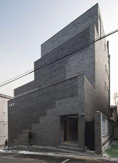 Perforated brick wal